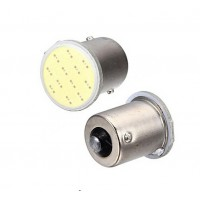 2 x BA15S 12V White COB LED Light Bulbs 1156 P21W