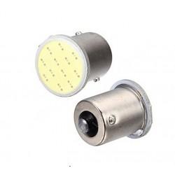 2 x BA15S 12V White COB LED Light Bulbs 1156 P21W