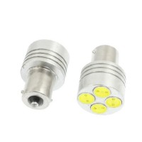 2 x BA15S PURE Bright White 4 LED Sidelight Bulb 1156 P21W 12V 24V