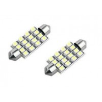 2 x 42mm White 16 SMD LED Car Interior Dome Light Bulbs 12V DE440