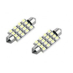 2 x 40mm White 16 SMD LED Car Interior Dome Light Bulbs 12V DE440