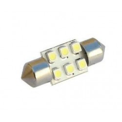 2 x 30mm White 6 SMD LED Car Interior Dome Light Bulbs 12V DE3022