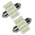 2 x 30mm White 16 SMD LED Car Interior Dome Light Bulbs 12V DE3022