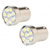 2 x BA15S 8 LED Tail White Sidelight Bulb 12V 24V 1156 P21W