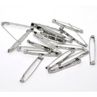50 x 45mm Small Brooch Backs Bar Pins Findings Silver 4.5cm